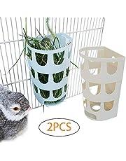 Rabbit Hay Holder Rack 2-Pcs,Food Feeder Bowl Hanging in Pet Cages for Bunny Chinchilla Guinea Pig Rat,Timothy Grass Dispenser-Random Color