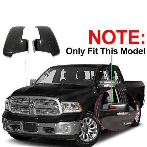 NINTE Fit for 2013-2018 Dodge Ram 2500/3500/HD 2013-2018 Dodge Ram 1500 Gloss Black Plated Mirror Cover W/Turn Signal Cut-Outs