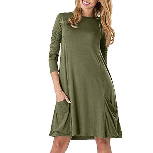 b4441107e4db HHei K Womens Casual Solid Color Flowy Pockets Swing Shirt Dress Loose Long  Sleeve Crew Neck Tunic