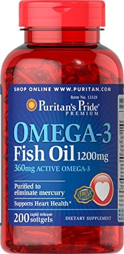 Puritans Pride Omega 3 Fish Oil Softgels  1200 Mg  200 Count