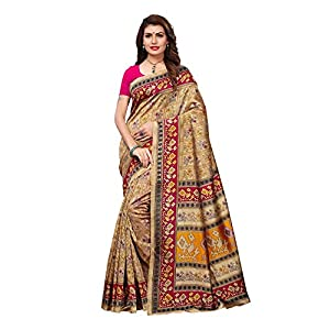 AKHILAM Women'S Art Silk Madhubani Printed Saree With Blouse Piece (Beige_ APHALSP10002D_Freesize)