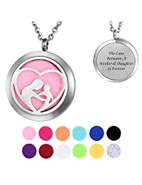 HooAMI Aromatherapy Essential Oil Diffuser Necklace Pendant Locket Jewelry, Engraved Personalized Words
