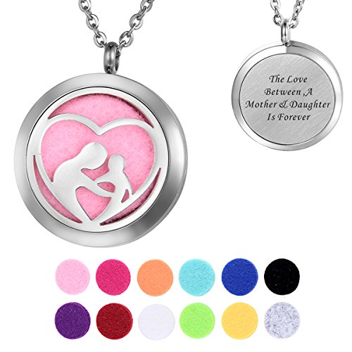 - HooAMI Aromatherapy Essential Oil Diffuser Necklace - A Mother & Daughter Locket Pendant