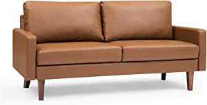 """Container Furniture Direct Pantaleon Mid Century Modern Faux Leather Living Room Sofa, 69.7"""", Brown"""
