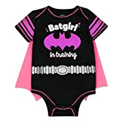 Baby Girl Batgirl Onesie with Cape - Black and Pink,  Batgirl in Training , 0/3m