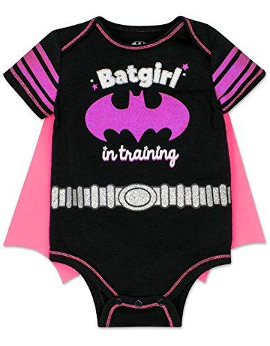 Warner Bros. Baby Girl Batgirl Bodysuit with Cape - Black and Pink,Batgirl in Training