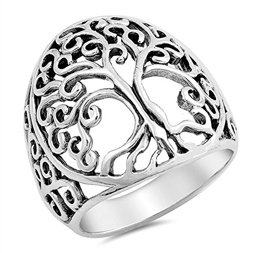(Filigree Tree of Life Ring .925 Sterling Silver Vintage Cutout Band Size 10)