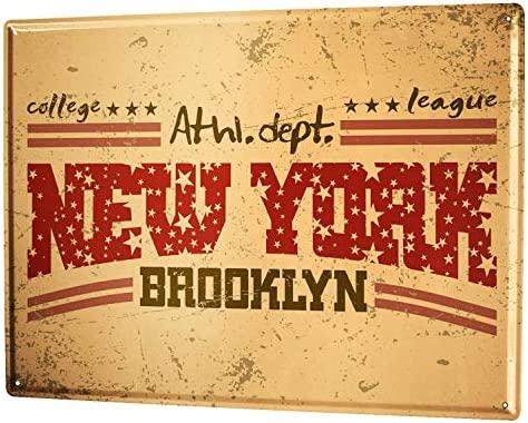 Amazon.com: Cartel de chapa ciudad nueva York Brooklyn: Home ...
