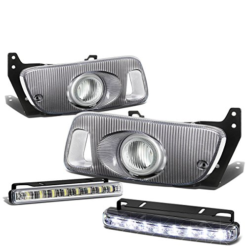 For Honda Civic Coupe/Hatchback Pair of Clear Lens Bumper Fog Lamp+Bulbs+Switch+DRL 8 LED Day Time Running Light ()