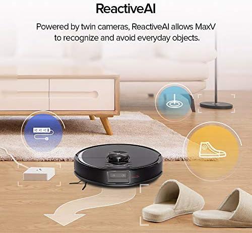 roborock S6 MaxV aspirateur robot avec navigation ReactiveAI et Lidar, aspiration puissante de 2 500 Pa, aspirateur robotique avec lavage du sol intelligent et serpillière