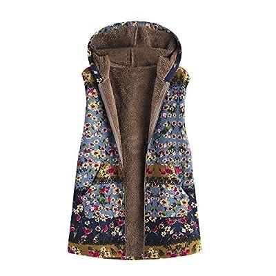 Chaofanjiancai Womens Vintage Oversize Coat Vest Winter Warm Outwear Floral Print Hooded Pockets Cardigan