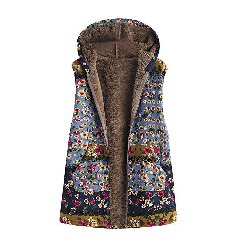 - JOFOW Womens Flannel Lined Vest Boho Floral Print Block Patchwork Hooded Sleeveless Jackets Coat Warm Padded Plus Size (2XL =US:10-14,Blue-Floral)