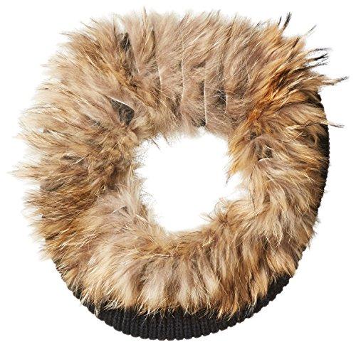 RUDSAK Women's Sorano Knit Gaiter Scarf with Fur, Black/Natural, One Size by RUDSAK