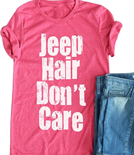 Women Jeep Hair Dont Care Lettters Print Funny T Shirt Casual Short Sleeve O Neck Tops Blouse Size L  Pink