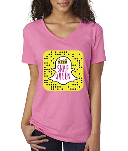 New Way 376 - Women's V-Neck T-Shirt Snap Queen Snapchat App Ghost Parody Funny Medium Azalea Pink