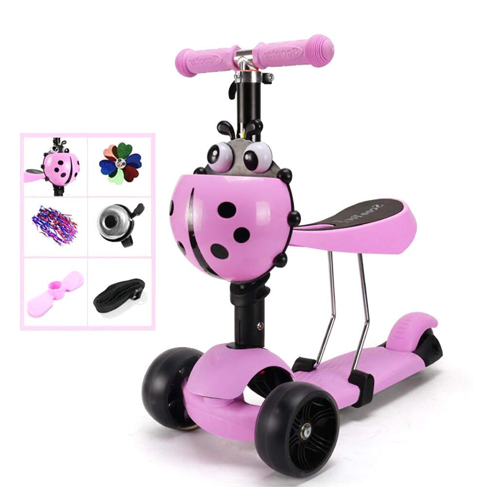 CMXIA Bambini Scooter Bambini Twist Car Beginner Boy Girl a Tre Ruote Flash Scooter 4 File Regolabile in Altezza ( Colore   rosa )