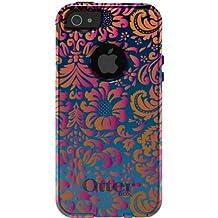 CUSTOM Black OtterBox Commuter Series Case for Apple iPhone 5 / 5S - Pink Orange Blue Flower Floral