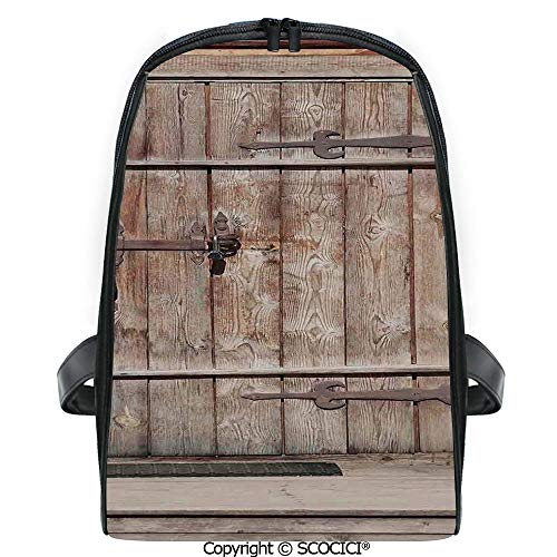 SCOCICI Casual Stylish Backpack Timber Rustic Door in Wall of An Old Log House Ancient Abandoned Building Entrance Gate Print 2019 Deals! One Size (Best Gas Powered Leaf Blower 2019)