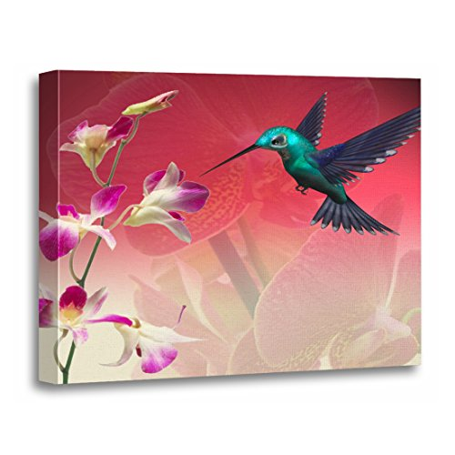 T Floral Hummingbird Orchid Flowers Girly Botanical