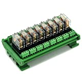 ELECTRONICS-SALON DIN Rail Mount 8 SPDT 16A Power Relay Interface Module,G2R-1-E DC12V Relay