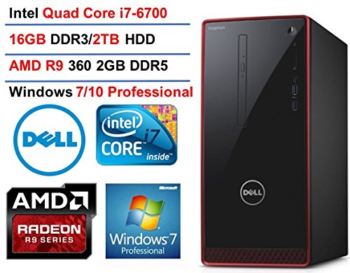 Dell Inspiron 3650 Flagship Premium Desktop PC, Intel Core i7-6700 Quad Core, 3.4 GHz, 16GB RAM, 2TB HDD, AMD Radeon HD R9 360 2GB GDDR5, DVD, WIFI Bluetooth HDMI VGA, Windows 7 Pro (Red/Black)