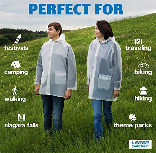 Leger sport Durable EVA The Best Rain Poncho -Unisex Men Women -Reusable Raincoat - with Hood - Ventilation & Two Pockets -Stay Dry in The Rain