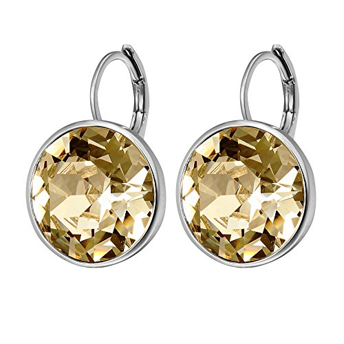 Xuping Sparkle Mother's Day Gifts 2018 Hot Sale Luxury Platinum Color Plated Crystals from Swarovski Hoop Earrings Women Girl Lady Wedding Jewelry M15-M17 (Crystal Golden Shadow)