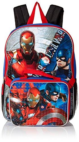 Marvel Boys' Civil War Captain Vs. Ironman Backpack with Lunch Kit