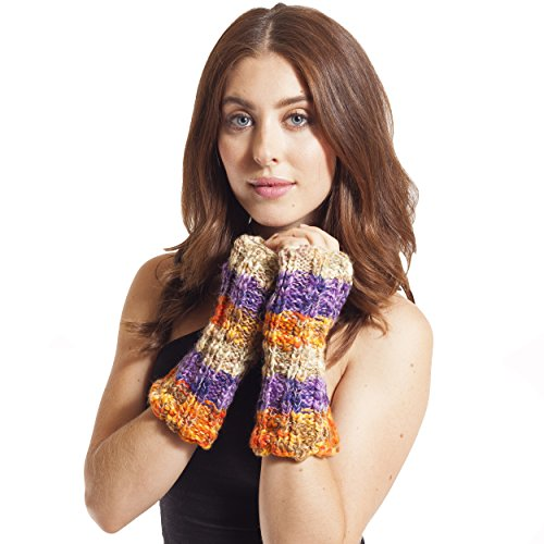 Women's Winter Hemp Blend Arm Warmers fingerless Gloves-Orange-One Size