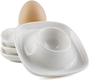 Egg Cups Holders Set of 4 Porcelain Eggs Cup Plates for Soft Hard Boiled Eggs