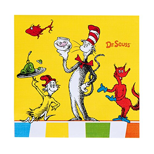 BirthdayExpress Dr Seuss Cat in The Hat Party Supplies - Beverage Napkins (20)]()