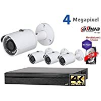 Dahua 4K NVR Security Package: 8CH 4K NVR4108-8P-4KS2 w/2TB Security Hard Drive+ (4) 4MP Outdoor IR HFW1420 3.6MM Bullet (NO LOGO Original Housing Local Support)