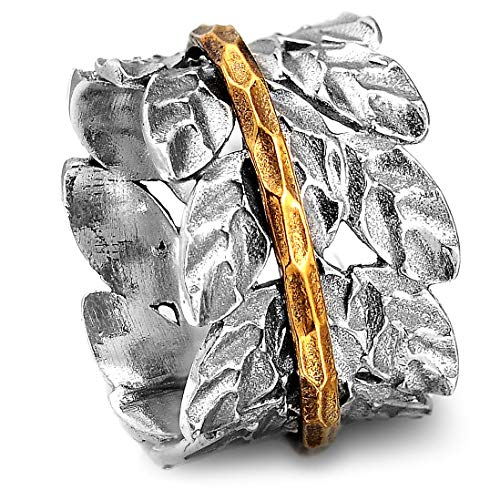 - Boho-Magic 925 Sterling Silver Spinner Ring for Women with Brass Spinning Ring | Nature Leaf Ring | Wide Band Fidget Meditation Anxiety Relief | Statement Chunky Jewelry Size 5.5-10.5 (9.5)