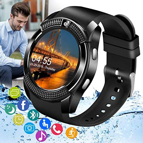 Amokeoo Smart Watch,Android Smartwatch Touch Screen Bluetooth Smart Watch for Android Phone Wrist Phone Watch with SIM Card Slot & Camera,Waterproof Sports Fitness Watch Tracker for Men Women Kids