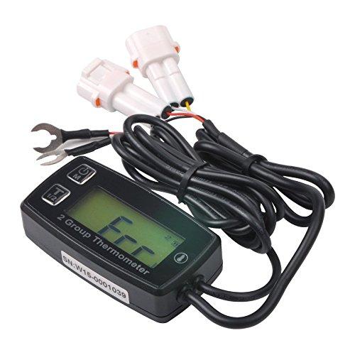 RunLeader RL-TM004 Measuring 2 Groups Temperature Thermometer with Double Temp Sensor Backlit Display for ATV UTV Dirtbike Motobike Motocycle outboards Snowmobile pitbike PWC Marine Boat Waterproof