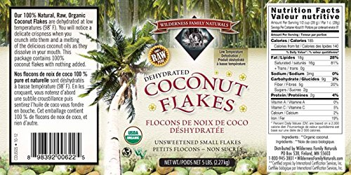 Coconut, Dehydrated at 98 Degrees, Unsweetened, Certified Organic, Small Flakes, 5 lbs. by Wilderness Family Naturals (Image #1)