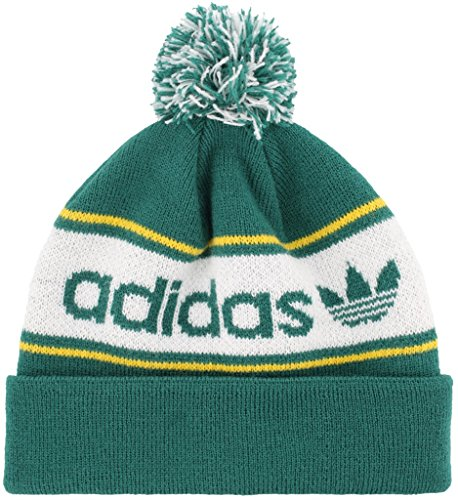 adidas Men's Originals Pom Beanie, Noble Green/White/Bold Gold, One Size