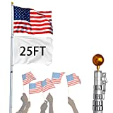 US PIEDLE 25 Ft Aluminum Telescopic Heavy Duty Flagpole and Golden Ball Top Kit, Outdoor Flag Pole for Residential or Commercial Use with 3'x5' US Flag New (25ft)