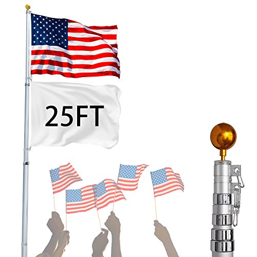 US PIEDLE 25 Ft Aluminum Telescopic Heavy Duty Flagpole and Golden Ball Top Kit, Outdoor Flag Pole for Residential or Commercial Use with 3'x5' US Flag New (25ft) by US PIEDLE