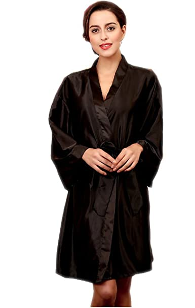 31e667c727 SexyTown Women s Short Satin Robe Knee Length Bridal Kimono Robe Silk  Nightwear(One Size