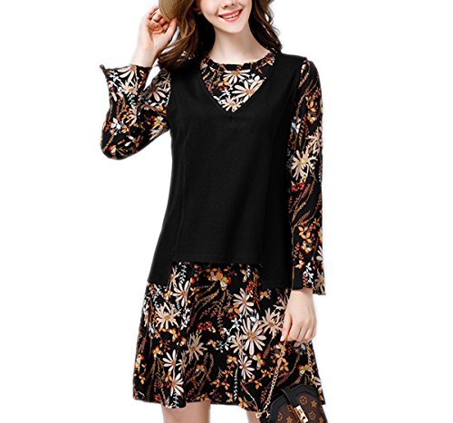 Weing Plus Size Women Knitted Tank Tops Print Chiffon Dress Autumn Casual Fashion 2 Piece Sets by Weing