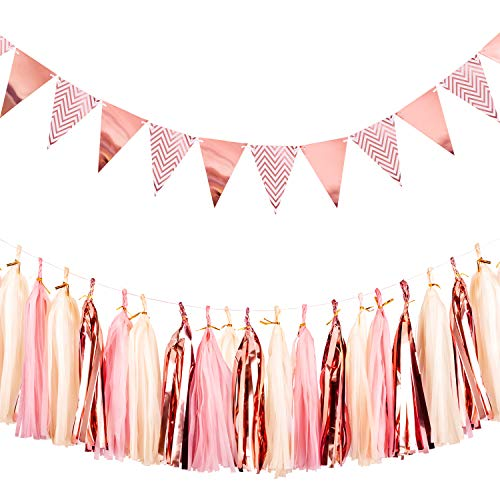 Whaline Sparkly Paper Pennant Triangle Banner Flag Bunting 12 Pcs and Tissue Paper Tassels Garland 15 Pcs for Baby Shower Wedding Birthday Party Wall Decoration, Rose Gold -