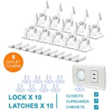 Baby Proofing Cabinet Locks, Child Safety Cabinet Drawer Locks Latches, Easy Installation 10 Packs, 8 Outlet Covers, Baby Proof Outlet Plugs, No Drill (White)