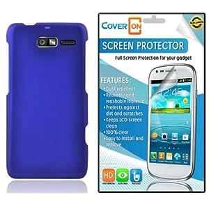 CoverON® Motorola Droid Razr M Hard Rubberized Slim Case Cover Bundle with Clear Anti-Glare LCD Screen Protector - Blue