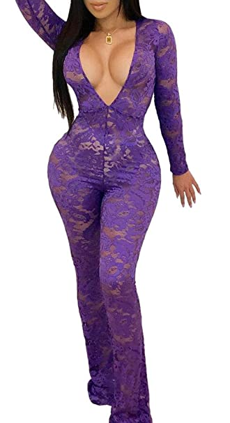 e2fc7c95467 Women Sexy Lace Deep V-Neck Mesh See Through Long Sleeve Bodycon Romper  Jumpsuits Purple