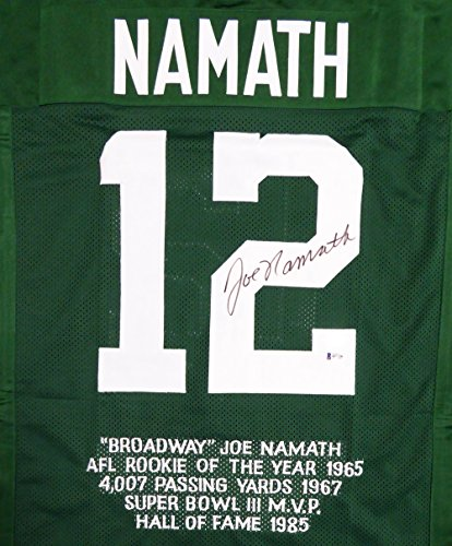 NEW YORK JETS JOE NAMATH AUTOGRAPHED GREEN JERSEY SEWN IN STATS BECKETT BAS STOCK #114974 ()