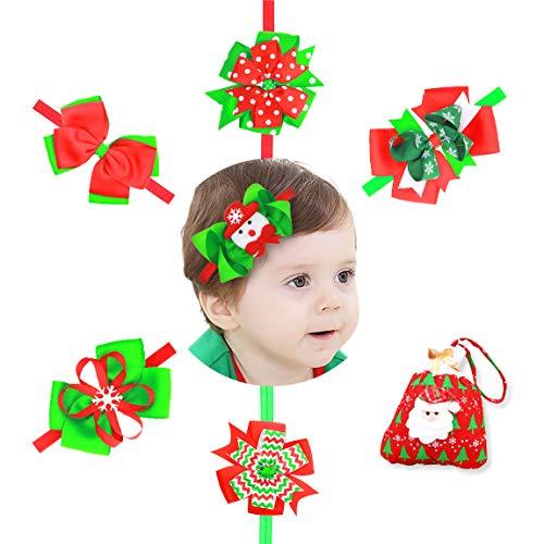 NinkyNonk Baby Girls Christmas Headbands Headdress Bowknot Hairbands Christmas Gift for Toddler Infant, 6 Pcs