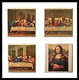 leonardo da vinci coaster set (By Brindle Southern) The Last Supper and Mona Lisa coaster set