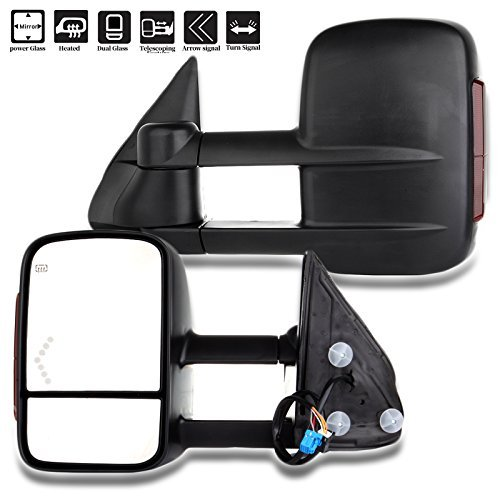 SCITOO Towing Mirrors fit Chevrolet GMC Automotive Exterior Mirrors fit 2003-2007 Chevy Chevrolet GMC Silverado Sierra (07 Classic) with LED Arrow Signal Amber Turn Signal Power Controlling Heated
