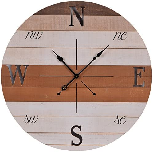 NIKKY HOME Compass Wall Clock, 30 , Brown, White
